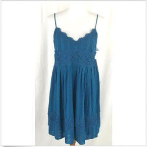 Taylor & Sage Dress Teal Eyelet Lace Babydoll NWT